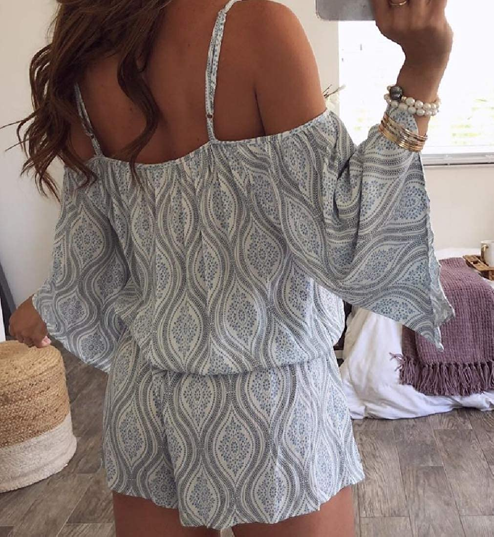Hajotrawa Women Flare Sleeve Knotted Classical Romper Cold Shoulder Print Jumpsuits