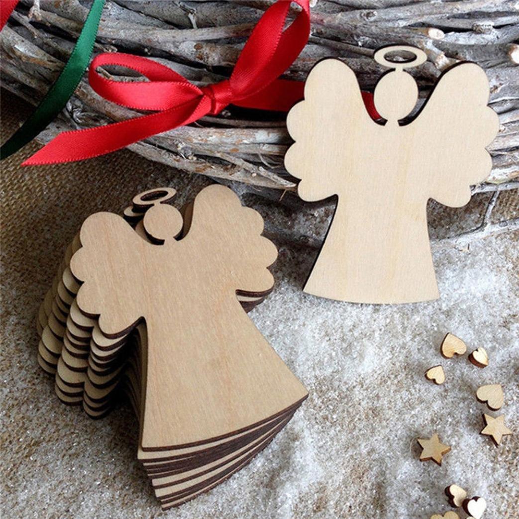 BZLine® 10Pcs Christmas Wood Chip Angel Tree Ornaments Xmas Hanging Pendant Decoration Gifts