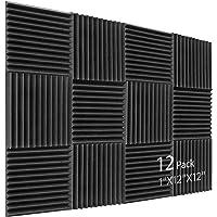 Geluid absorber akoestisch schuim, 12 stuks zwart akoestisch schuim voor podcasts, opname studio's, kantoren, thuis…