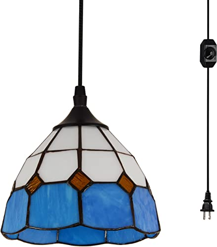 HMVPL Vintage Tiffany Glass Pendant Ceiling Light with 16.4 Ft Plug in Cord and On Off Dimmer Switch, Round Multicolored Swag Hanging Lamp for Kitchen Island Dining Room or Living Room 8.2 W