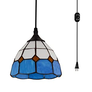 HMVPL Vintage Tiffany Glass Pendant Ceiling Light with 16.4 Ft Plug in Cord and On/Off Dimmer Switch, Round Multicolored Swag Hanging Lamp for Kitchen Island Dining Room or Living Room (8.2'' W)