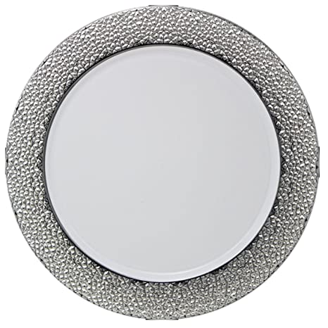 Amazon.com | Posh Setting White Charger Plates, Silver Hammered ...