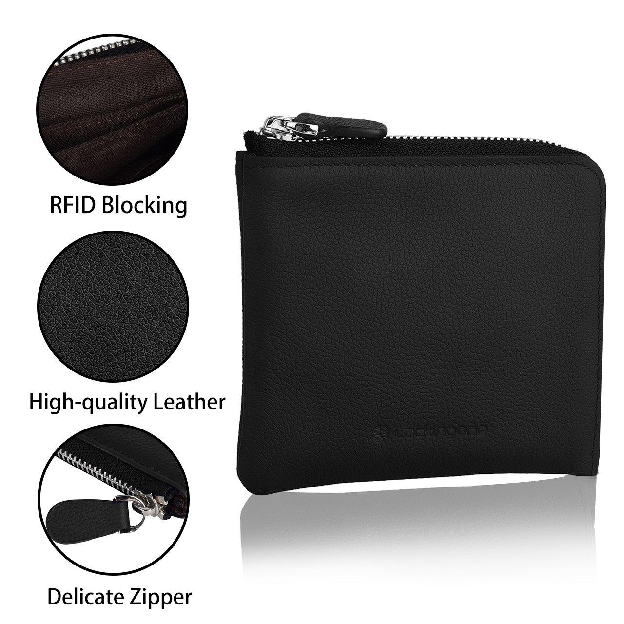 4499ddad3b Lackingone Mini Portafoglio di Pelle RFID con Cerniera Lampo Porta Carte da  viaggio Portafoglio Classico Borsa Wallet Nero: Amazon.it: Valigeria