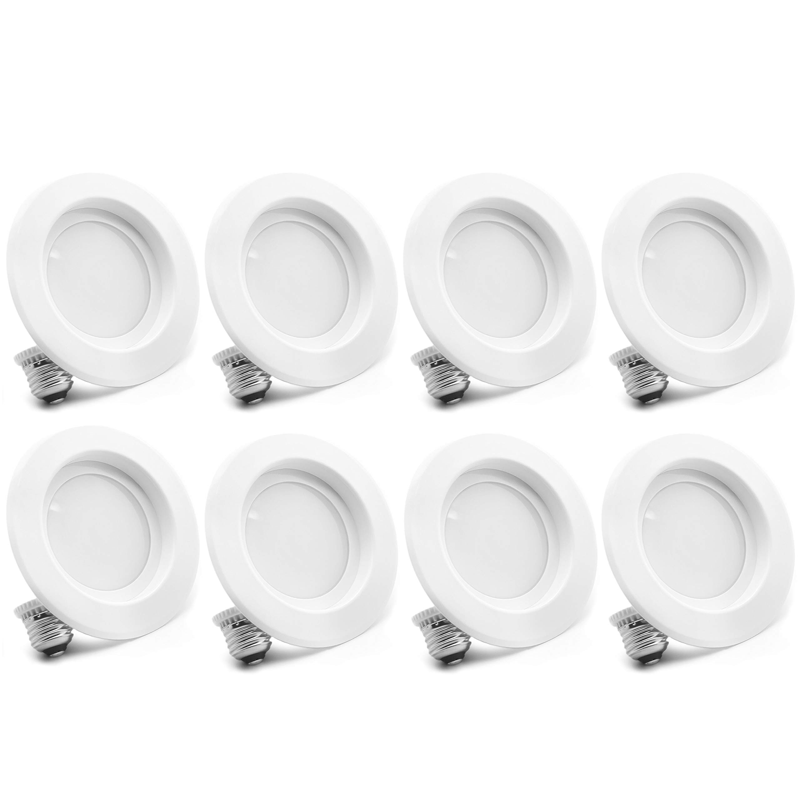 "Bioluz LED 4"" LED Retrofit Recessed Light 65W Equivalent (Using 10W) 700 Lumen, 90 CRI, Dimmable, UL-Listed CEC JA8 Title 24 Compliant (8-Pack, 3000K Soft White)"