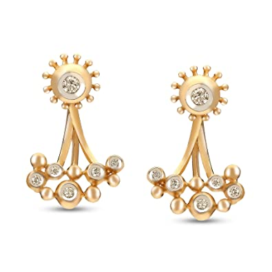 49b7745a2f618 Buy Mia by Tanishq 14KT Yellow Gold and Diamond Hoop Earrings for ...