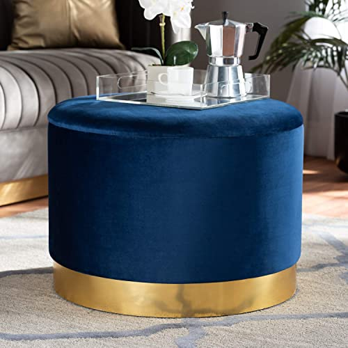 Baxton Studio Marisa Glam and Luxe Navy Blue Velvet Fabric Upholstered Gold Finished Storage Ottoman