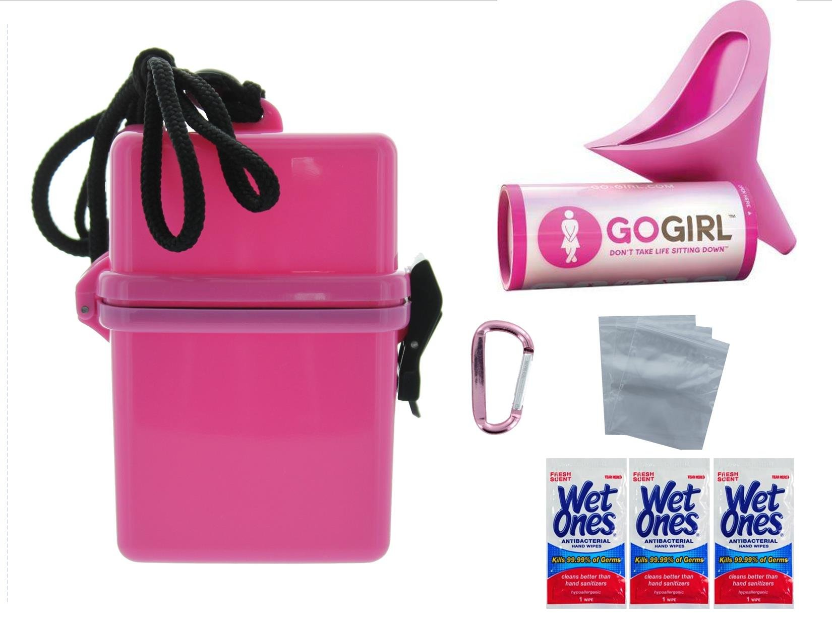 GO GIRL ALWAYS PRETTY IN EXTRA PINK FEMALE URINATION KIT - PINK CARABINER