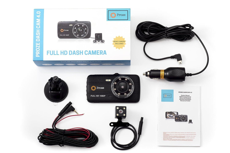 Proze Dashcam 4.0 Autokamera Dual Lens Kamera 1080p Full HD DVR mit 170/° Grad Weitwinkel G Sensor Nachtsicht Loop-Aufnahme Bewegungserkennung Park/überwachung R/ückfahrkamera