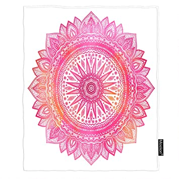 Amazon.com: Moslion - Manta de mandala, acuarela, color rosa ...