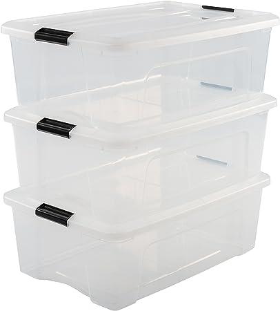 Iris Ohyama New Top Box NTB-30 - lote de 3 cajas apilables de almacenamiento, Transparente, 30 L: Amazon.es: Hogar