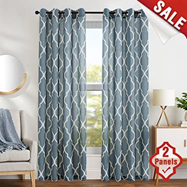 Print Curtains 72 inch Lattice Moroccan Tile Flax Linen Blend Curtain Textured Grommet Quatrefoil Window Treatment Set for Living Room Kitchen - (Blue 2 Panels)