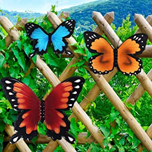 Lathamsea Metal Butterfly Wall Art Decor, Hanging Butterfly Ornament Set Of 3, For Indoor Or Outdoor Home Garden Fence Sculpture Decor