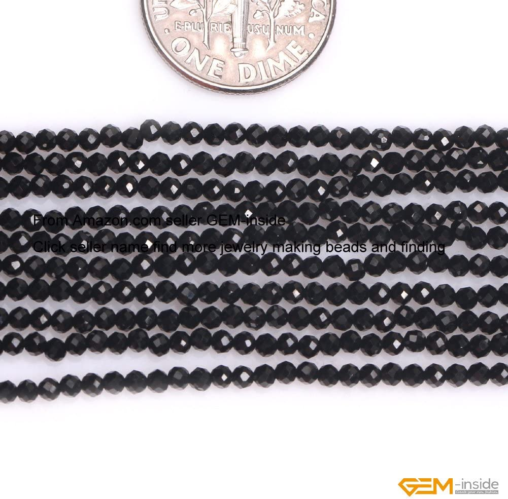 GEM-inside AAA Grade Natural 2mm Black Spinel Round Faceted Gemstone Beads for Jewelry Making Spacer Seed Beads Strand 15