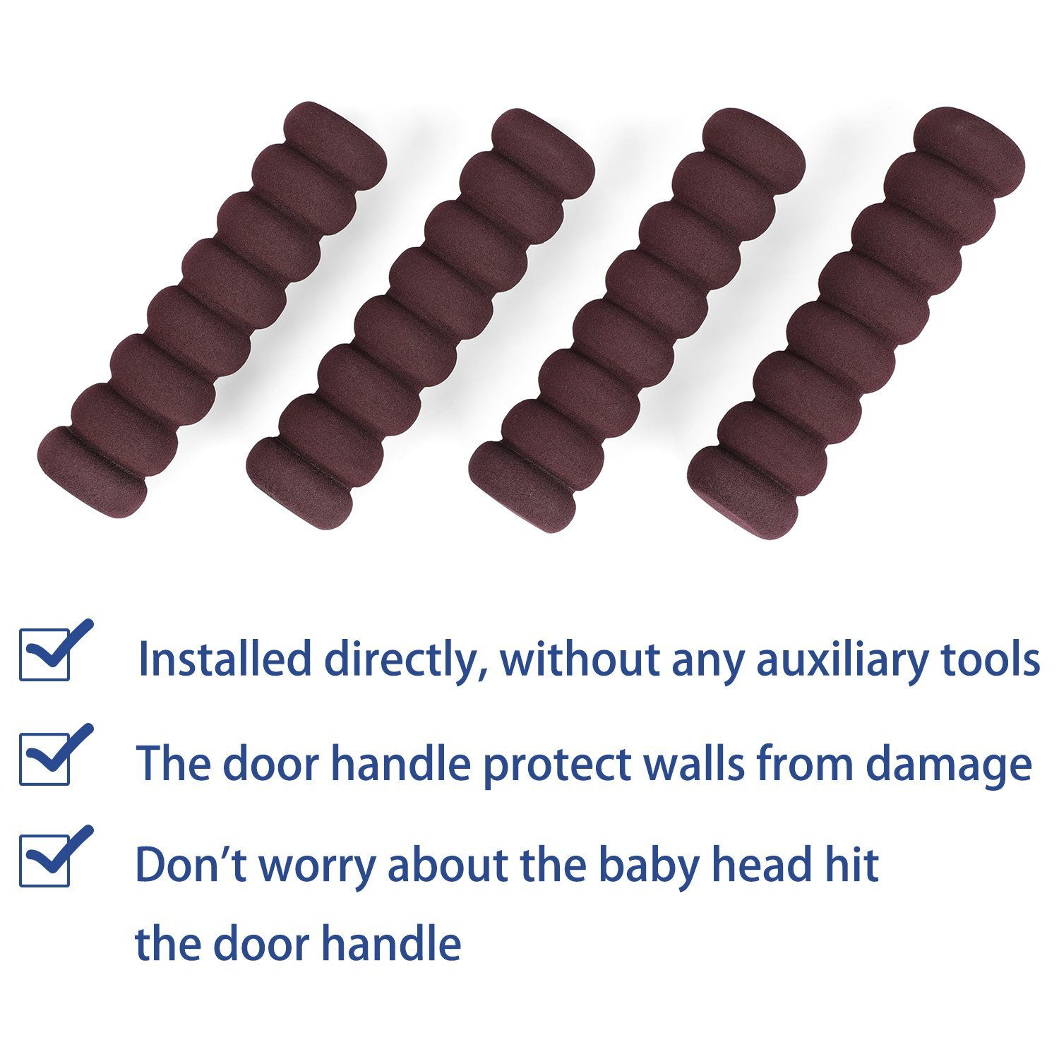 Door Handle Covers Anti-Collision for Child Safety Soft Foam Rubber Anti-Static Outside Door Handle Protective for Direct Sunlight Harm or Injury 4 pcs Brown