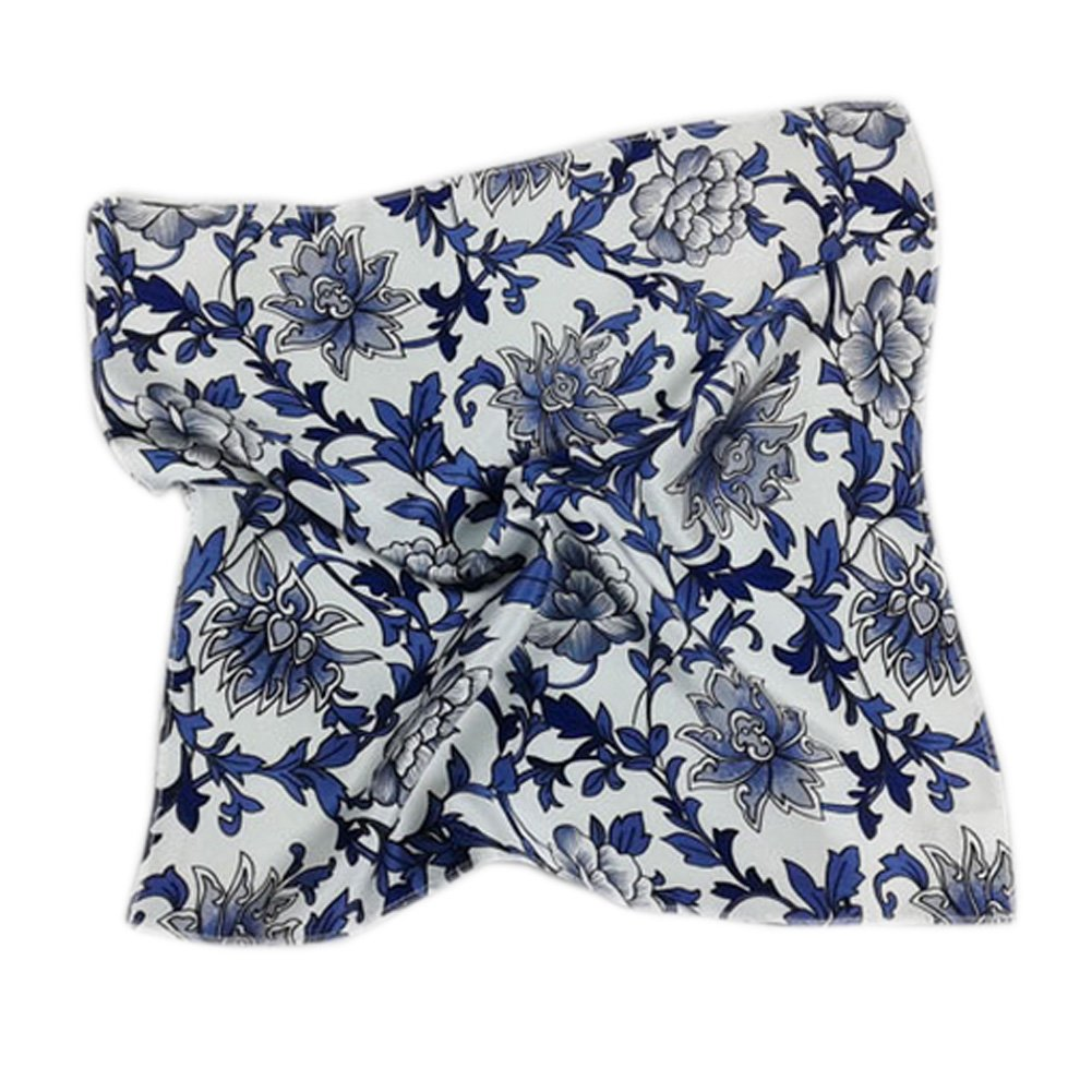 Elegant Printed Silk Handkerchief For ladies, Blue And White Porcelain KE-CLO2474944011-AMANDA01683