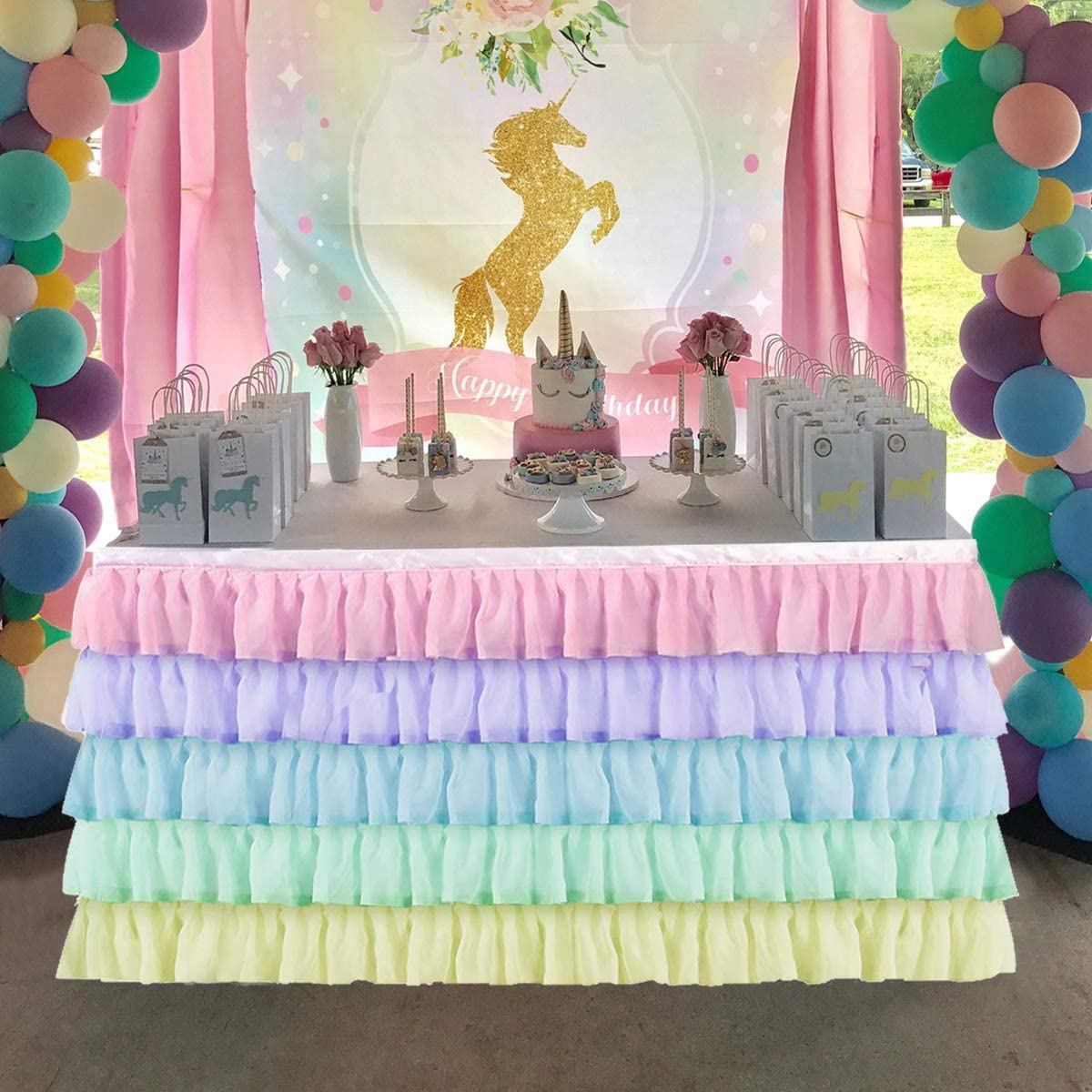 KIXIGO Rainbow Tulle Table Skirt Table Cloth for Rectangle or Round Table,Table Skirting for Wedding,Birthday,Baby Shower,Party Decoration (Rainbow, L 9(ft) H 30in)