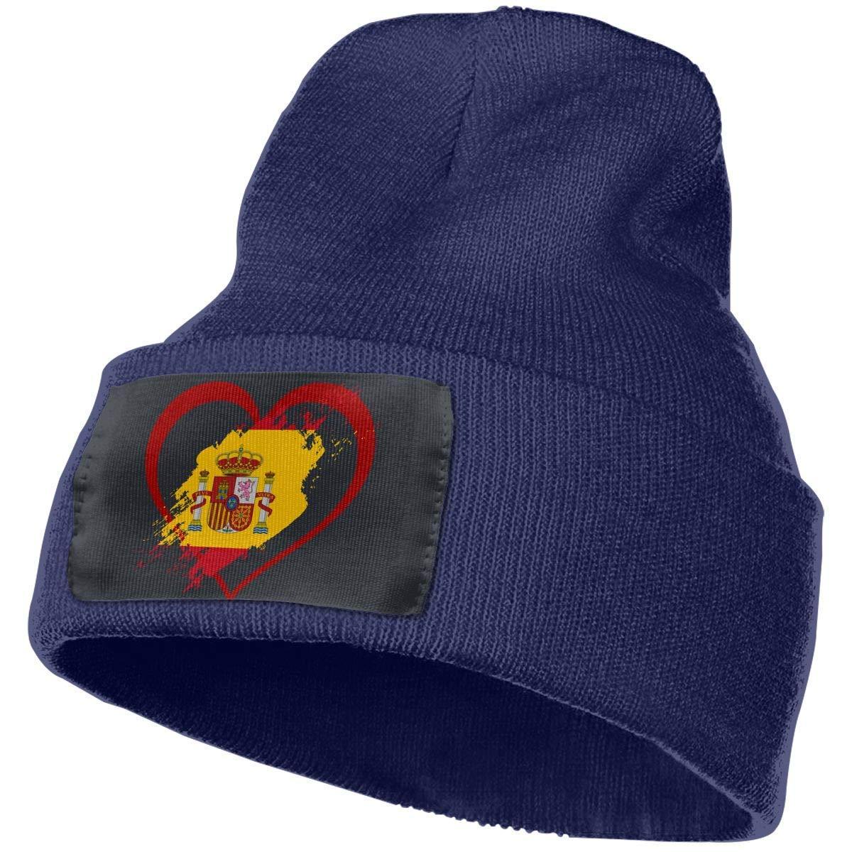 NAA Spain Flag Heart Shape Men Women Knit Beanie Hat Warm Ski ...