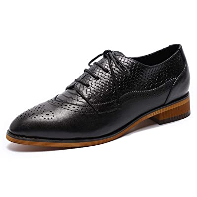 MIKCON Womens Oxfords Shoes Leather Perforated Wingtip Lace up Flats Saddle Brogue Shoes for Womens Girls | Oxfords