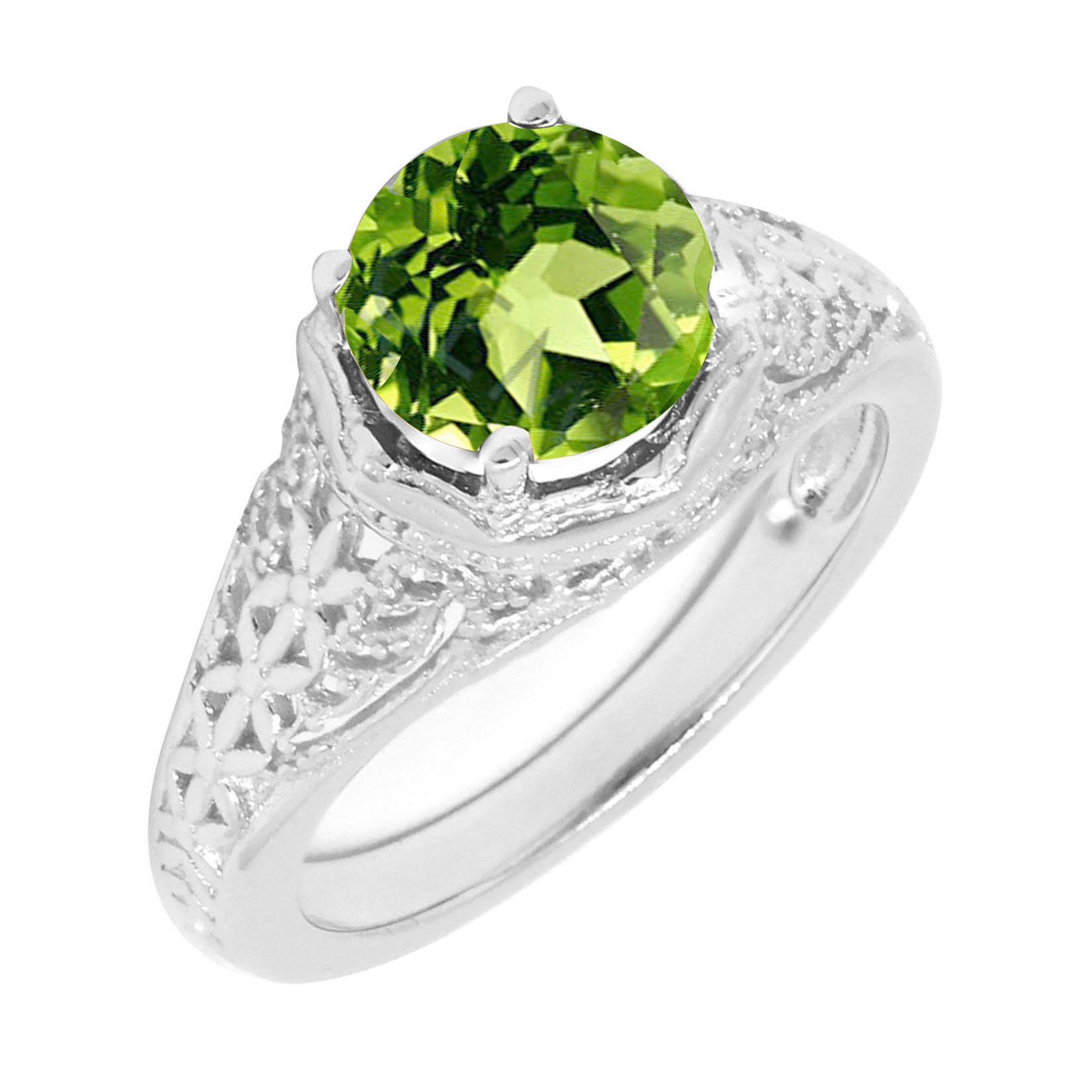 Filigree Sterling Silver Round Cut Natural Green Peridot Statement Ring (2 C.T.T.W)