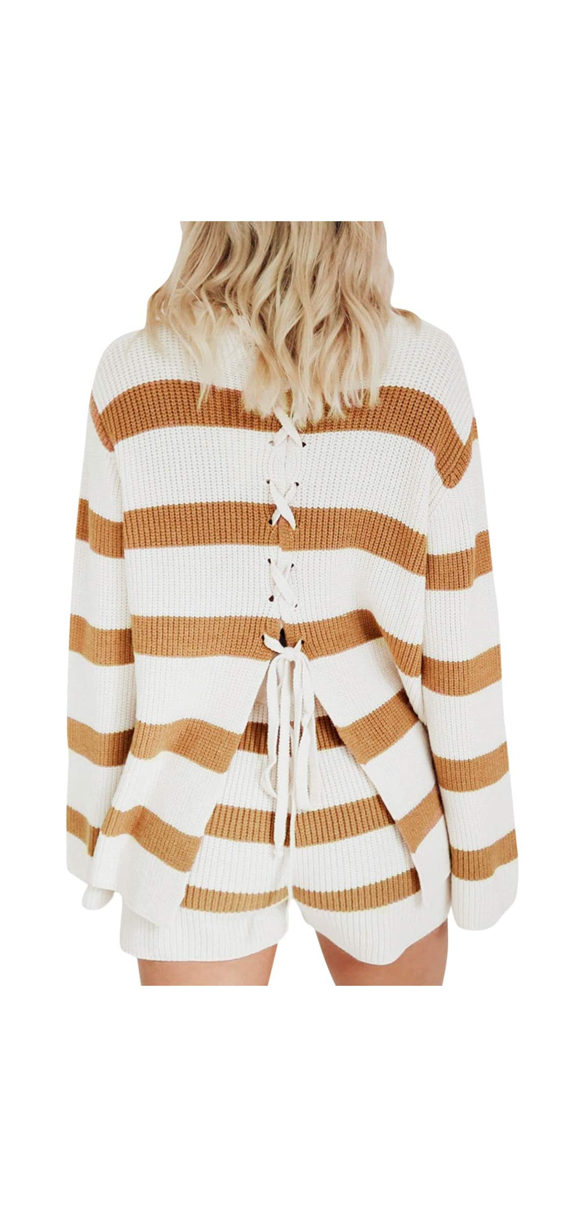 Women's Casual Lace Up Backless Pullover Sweater