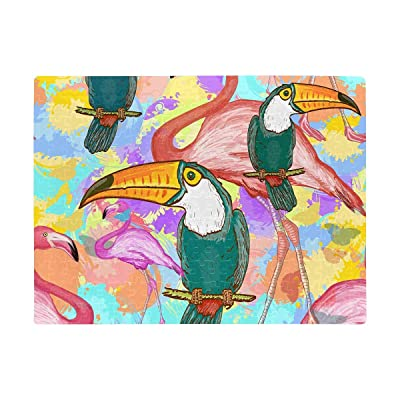 INTERESTPRINT Toucans and Flamingos Exotic Floral Adults Puzzles 252 Piece Mini Puzzle Game Interesting Toys Personalized Gift: Toys & Games