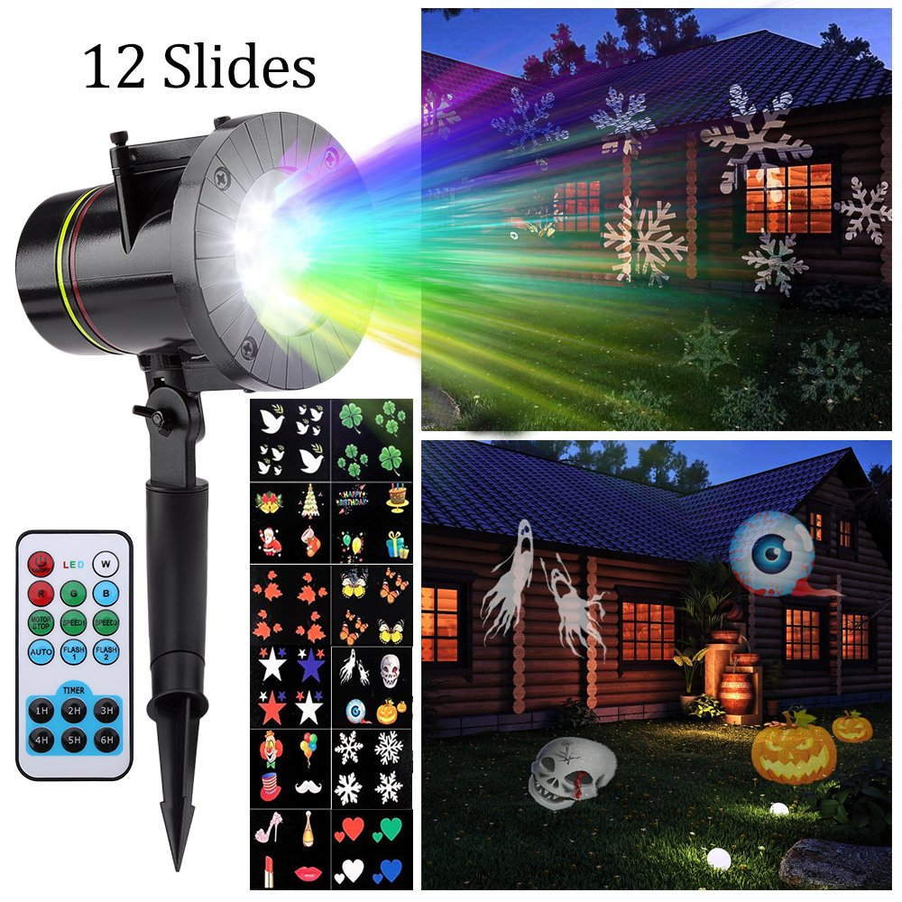 (UK Shipping) Projector Light, Peralng LED Spotlights Landscape Rotating Light Decorative Colorized Auto Moving Lamp with 12 Replaceable Lens (with Remote Control) ZXP-079-UK