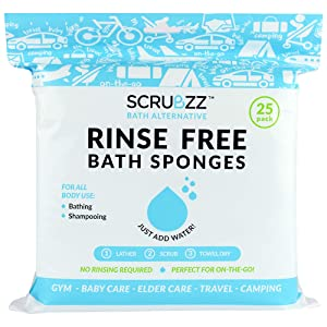 Scrubzz Disposable No Rinse Bathing Wipes - 25 Pack - All-in-1 Single Use Shower Wipes, Simply Dampen, Lather, and Dry Without Shampoo or Rinsing