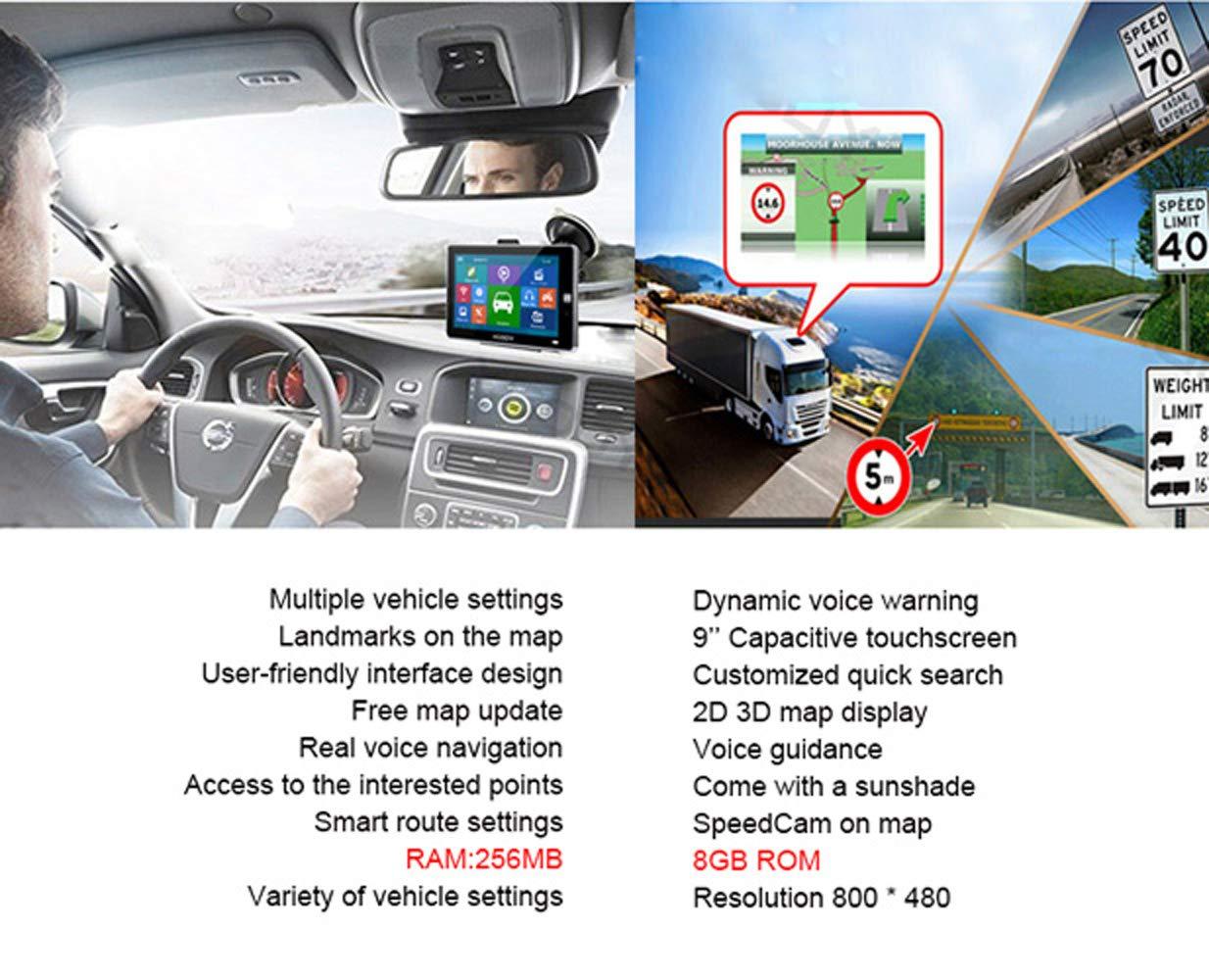 Xgody SAT NAV para la navegaci/ón GPS en camiones para navegaci/ón GPS de 9 pulgadas y 8 GB con camiones Bluetooth para buscar el c/ódigo de velocidad para las alarmas de c/ámara de PDI de camiones