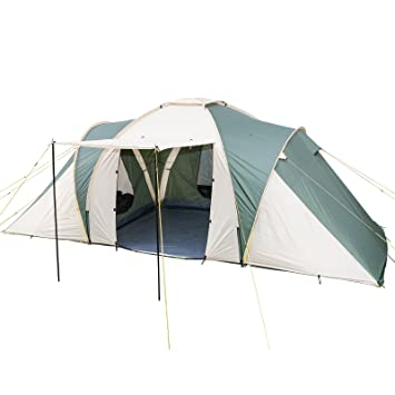 Skandika Daytona Family Camping Tent With 3 Sleeping Rooms And Sun Canopy Porch Beige