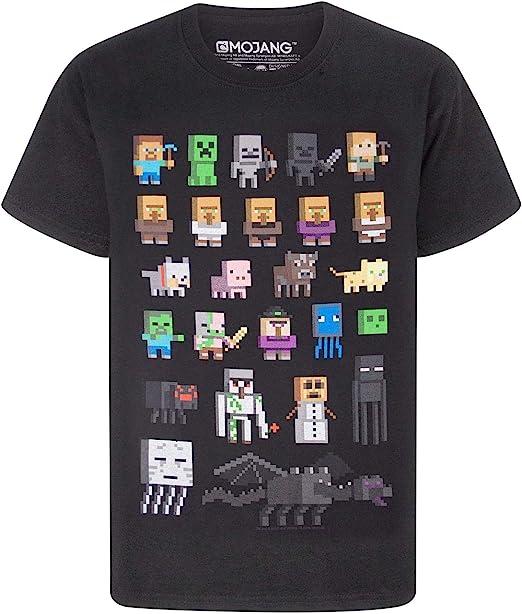 Minecraft Camiseta para niños de Sprites, 100% Algodón [12-13 años] [negro]: Amazon.es: Ropa y accesorios
