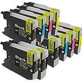 LC12-4PK 4色セットx2+BK2個 10個セット brother(ブラザー)対応 高品質互換インクカートリッジ 残量表示機能対応 (JAN:4571498425638)