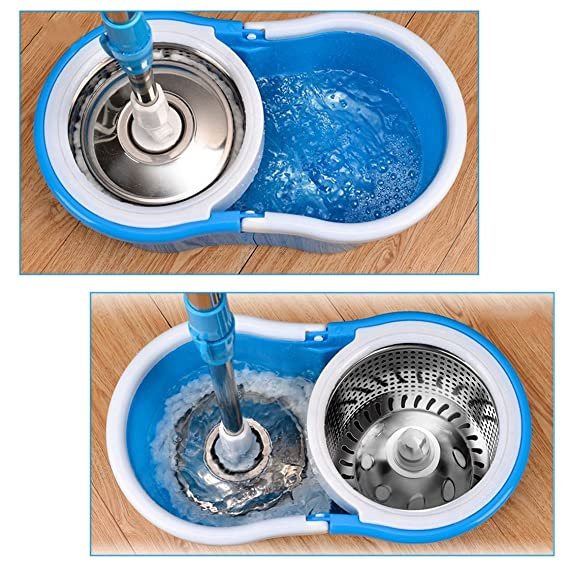Praktische Heimgebrauch Magic Bodenreinigung Mop 360 Grad Roll Spin Selbst Wring Faser Baumwolle Kopf Boden Wischmopp Set