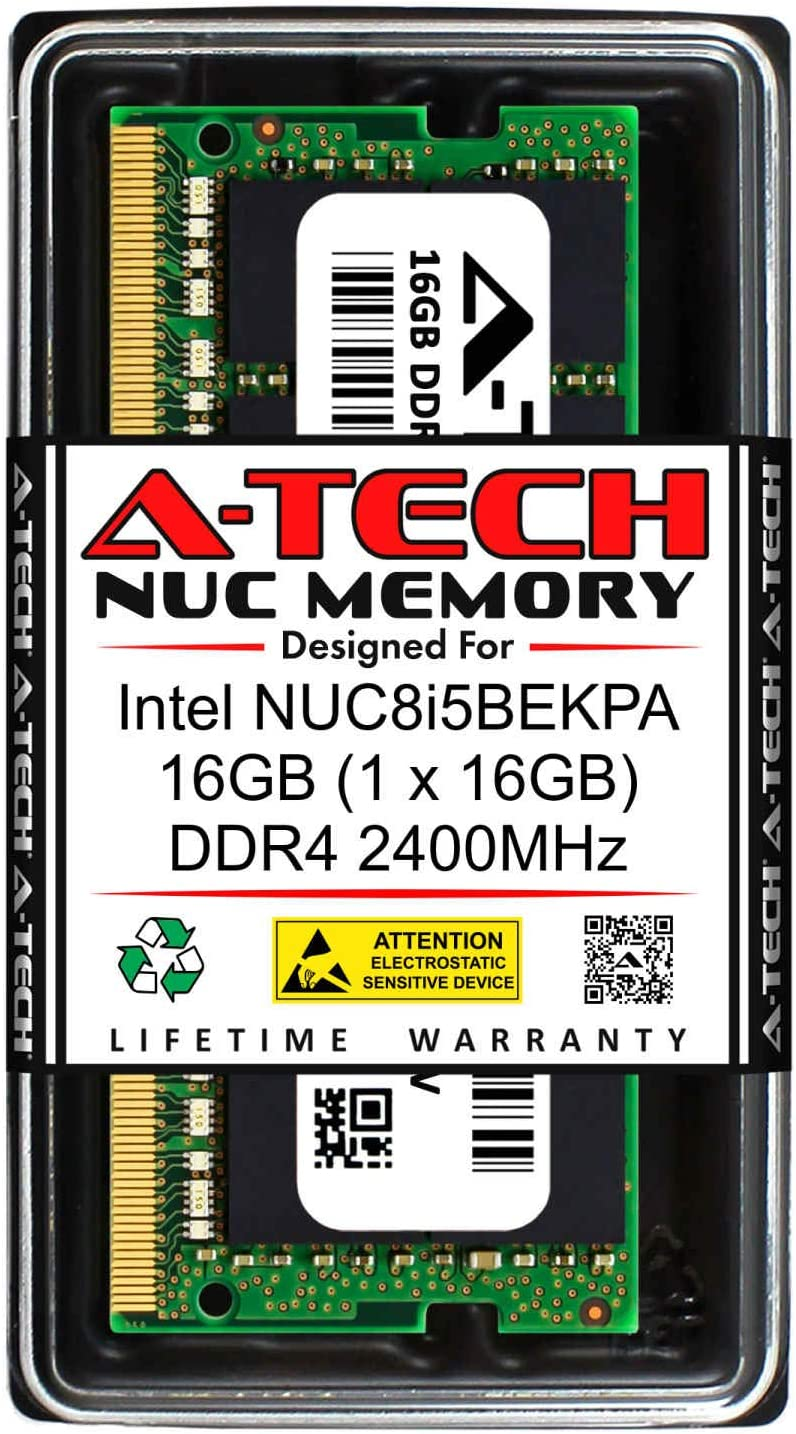 A-Tech 16GB RAM for Intel NUC8i5BEKPA NUC 8 Home Mini PC DDR4 2400MHz PC4-19200 1.2V SODIMM Memory Upgrade Module