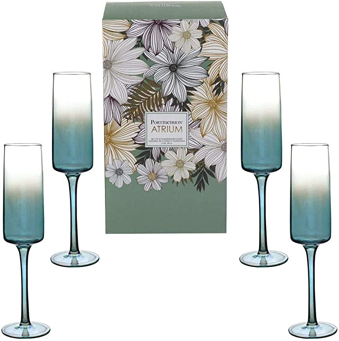 Portmeirion Home & Gifts Champagne Flute Set of 4, Glass
