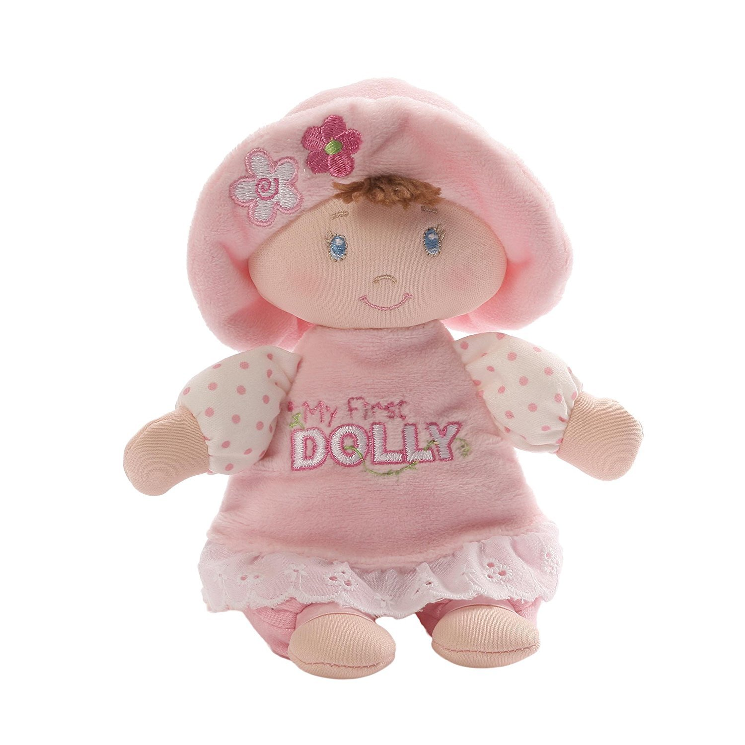 Baby GUND My First Dolly Brunette Stuffed Plush Rattle, 7''