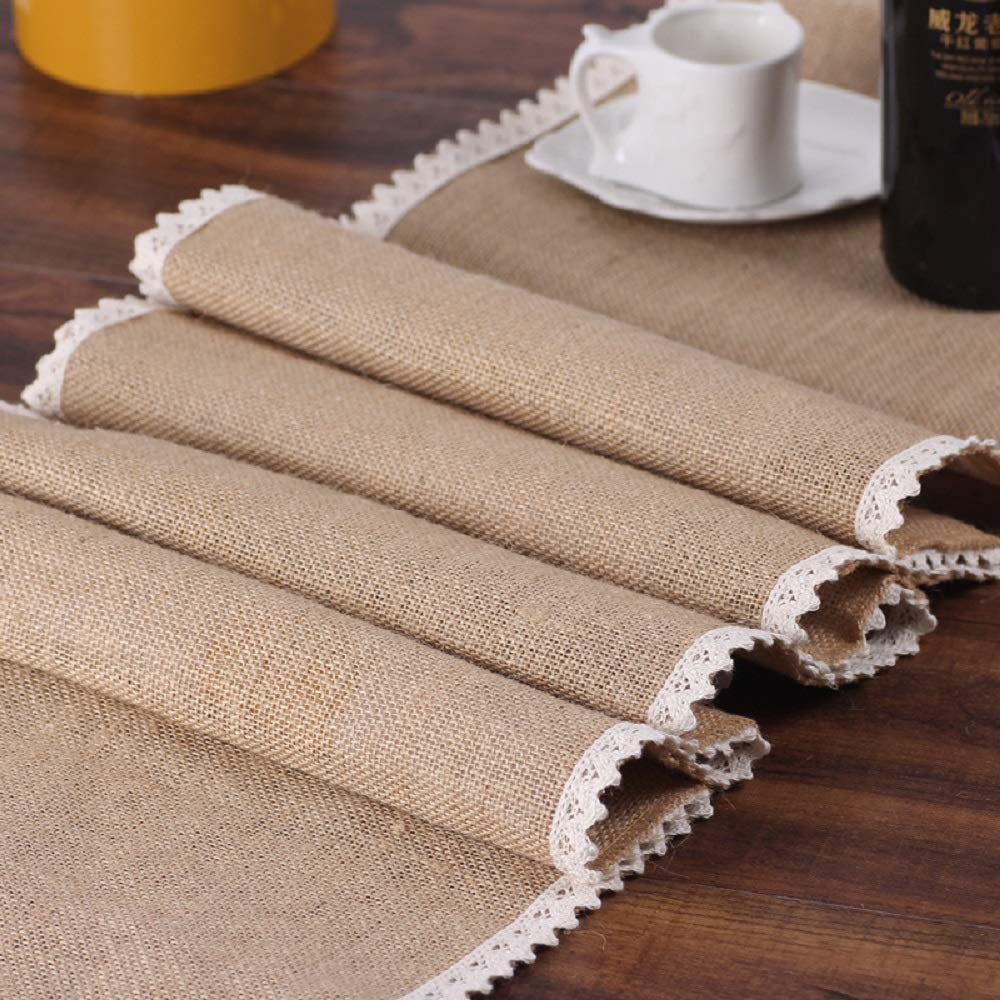 FiveRen Burlap Lace Hessian Table Runners Natural Jute Rustic Country Barn Wedding Party Decoration Farmhouse Decor 12x108 Inch