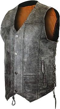 Men/'s Motorcycle Leather vest 2 Gun pockets Biker Distressed Gray 10 Pocket