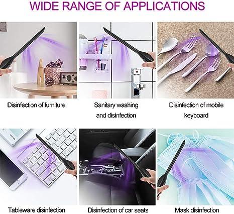 UV Desinfektion Lampe Tragbare UVC Sterilisationslampe Schimmelpilze Antibakterielle Rate 99/% USB Aufladung Keime Hand held UV Germicidal Lampe Sterilisator Desinfektionsmittel f/ür Bakterien