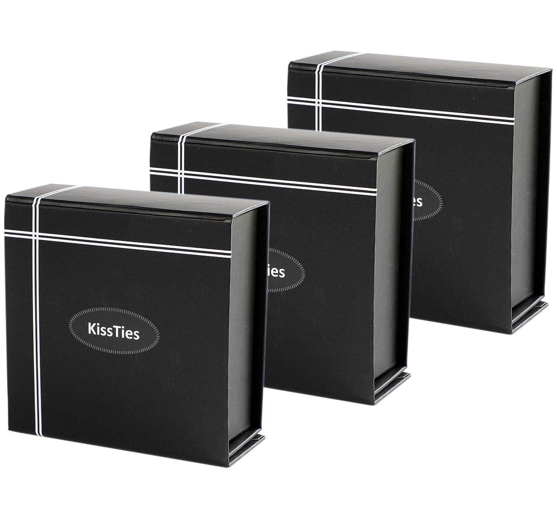 4.3x4.3x1.8inch KissTies 3PCS Reusable Portable Magnetic Closure Black Display Gift Boxes Storage GB003