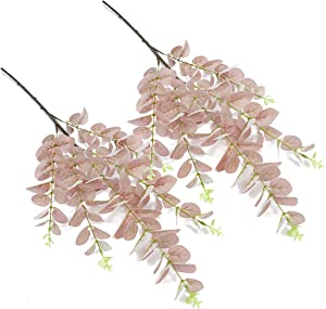iFLOVE 2 Pcs Artificial Eucalyptus Leaves Spray in Plastic Floral Greenery Stems for Home Party Wedding Decoration(Autumn)