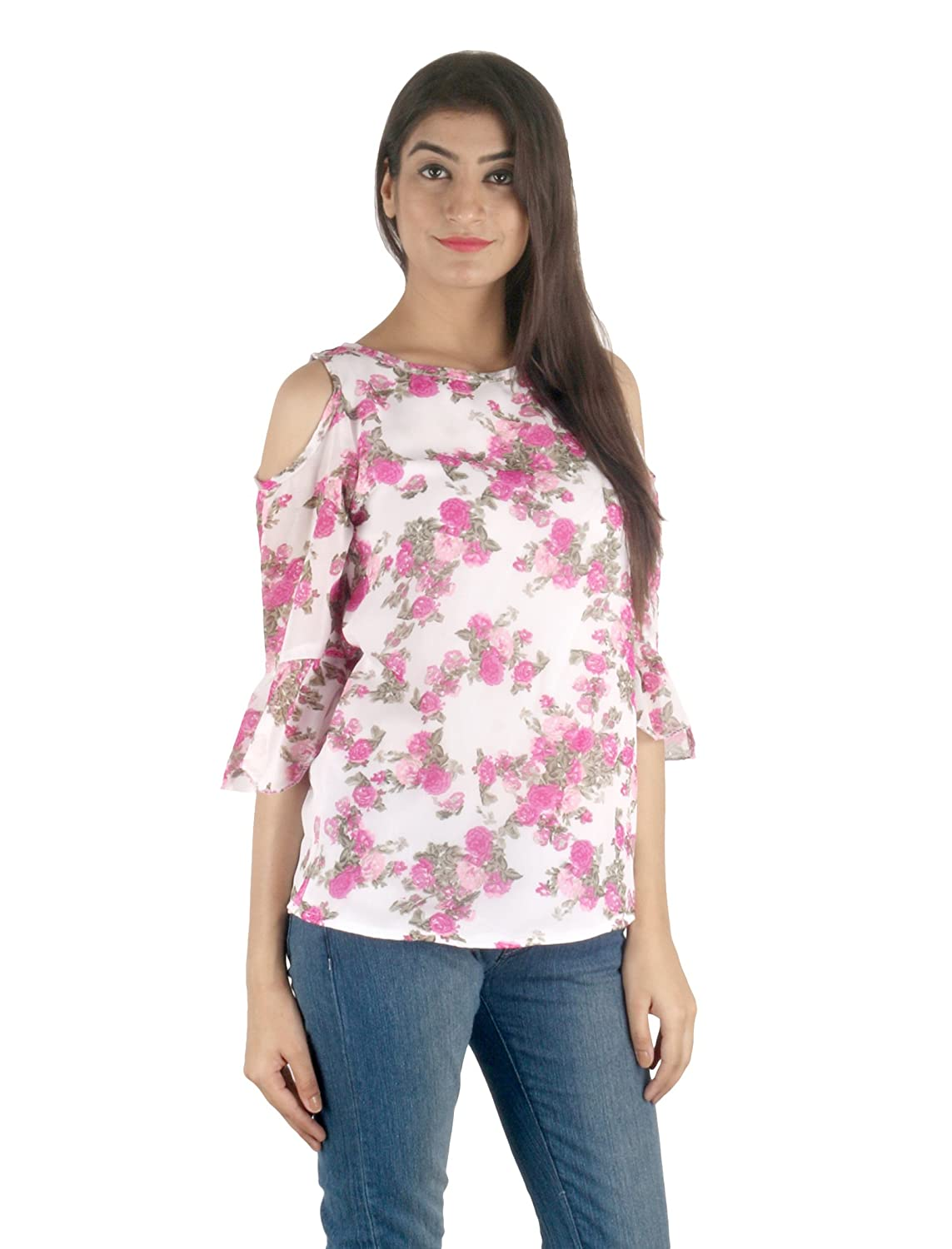 c2482825df831 STakriti1 Georgette with Lining Printed Pink Off Shoulder Cut Sleeves Top  for Girls Women  Amazon.in  Clothing   Accessories