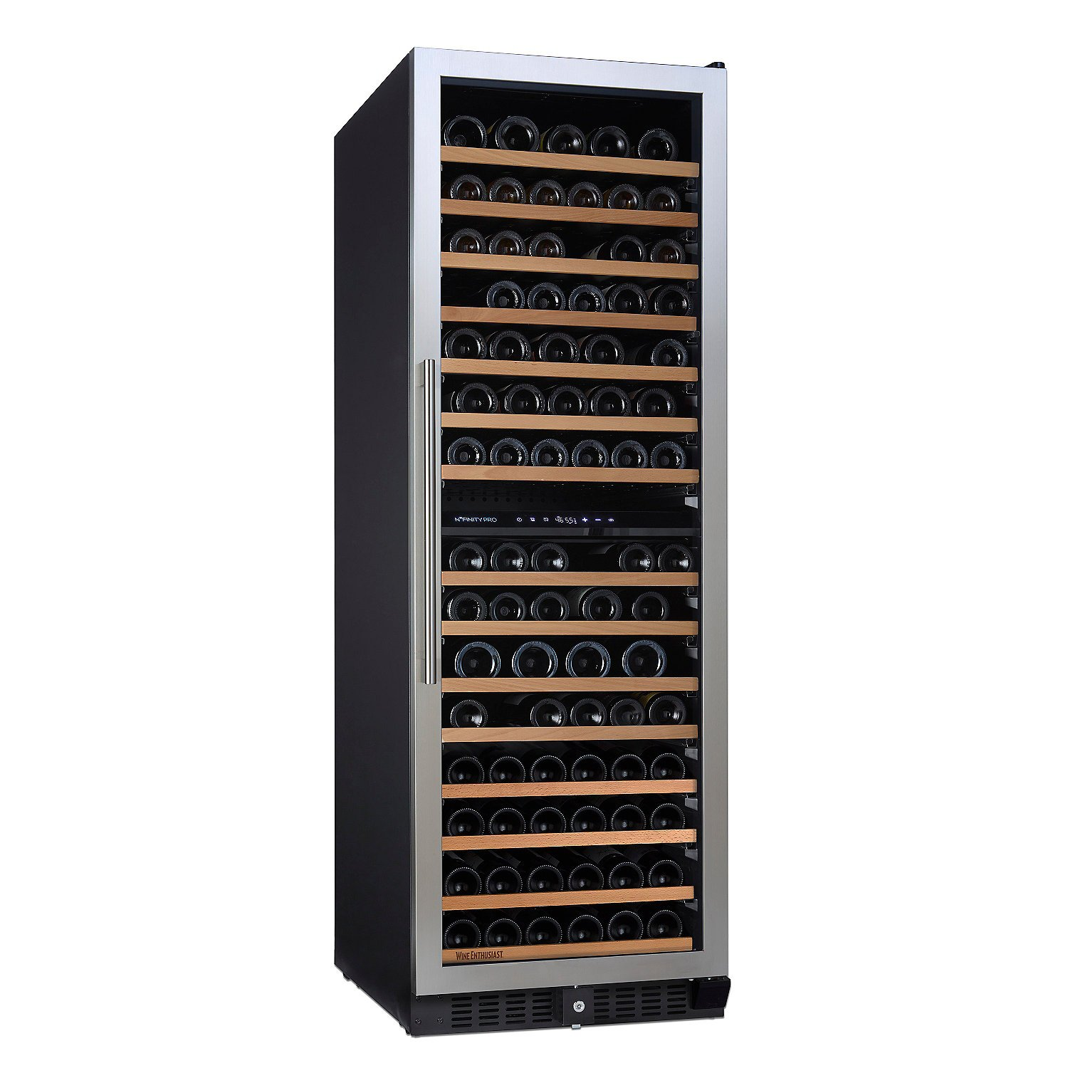 N'FINITY PRO L by Wine Enthusiast – 166 Bottle Dual Zone Built-In/Free-Standing Wine Cellar, Stainless Steel