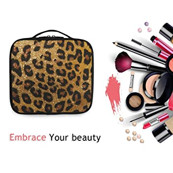 Leopard print Gold Glitter Face Make up large zip pouch.