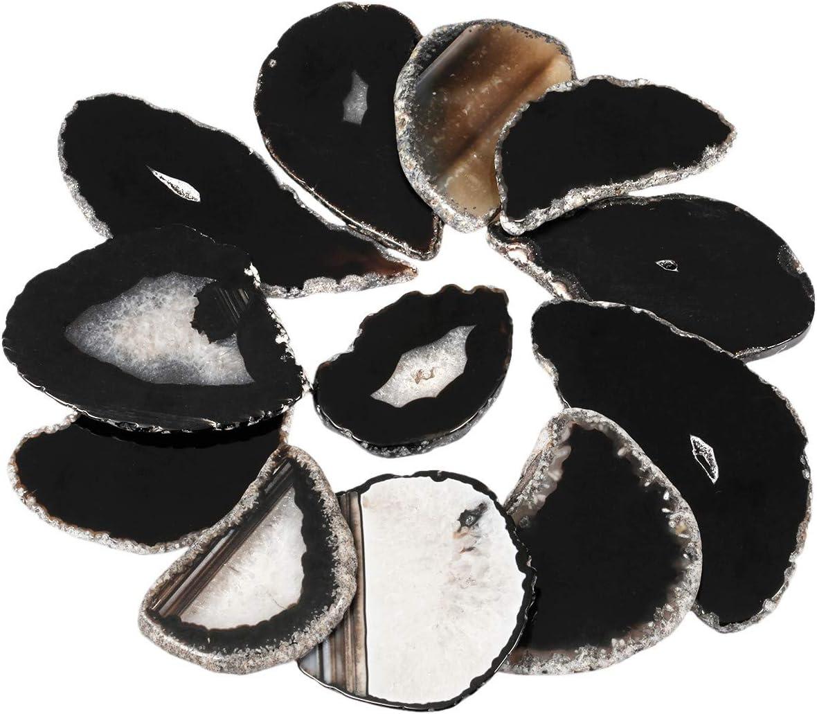 mookaitedecor 10 Piezas de rodajas de ágata de Cristal para bisutería, Piedra de geoda para Colgante, Collar, Abalorios, Manualidades, decoración, Piedra, Black/Undrilled(1.7-3.1