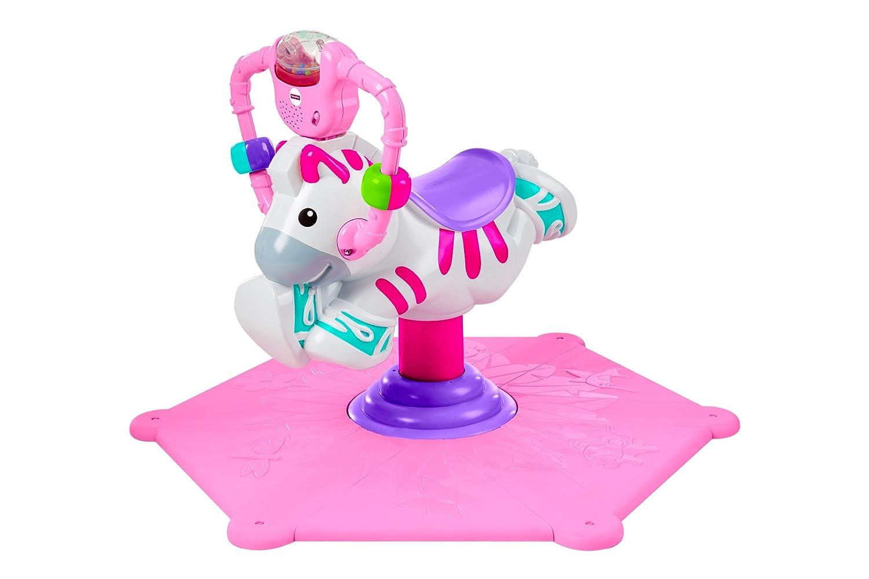 Fisher-Price Zèbre Tourni Rebond pour que Bébé s'Amuse à Bondir et à Tourner, Lumineux et Musical, Rose, dès 12 Mois, R4341 Mattel