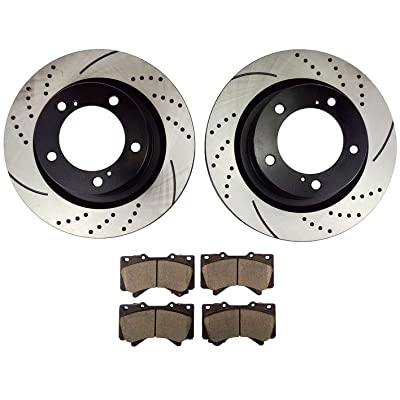 Atmansta QPD10002 Front Slotted & Drilled Rotors and Ceramic Pads Brake Kit for Toyota Land Cruiser Sequoia Tundra: Automotive