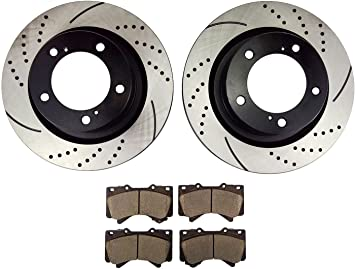 Front Drilled Brake Rotors and Ceramic Pads 2008-2015 Toyota Sequoia,Tundra