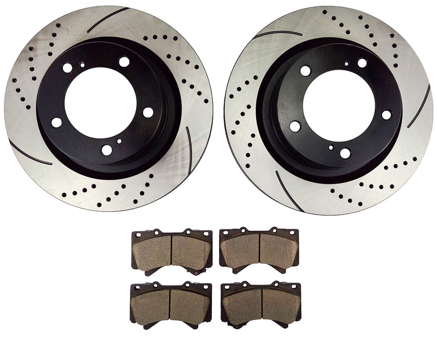 Atmansta QPD10002 Front Slotted /& Drilled Rotors and Ceramic Pads Brake Kit for Toyota Land Cruiser Sequoia Tundra