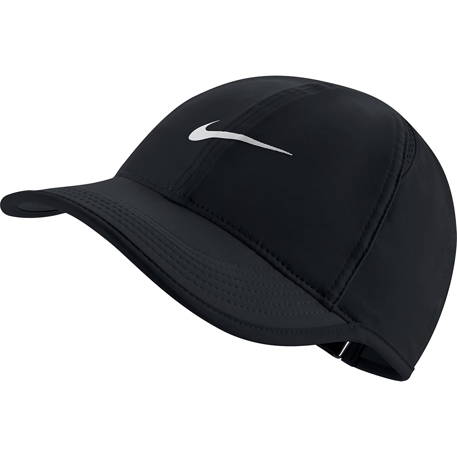 a575d7af Amazon.com: NIKE Women's AeroBill Featherlight Tennis Cap,  Black/Black/White, One Size: Clothing