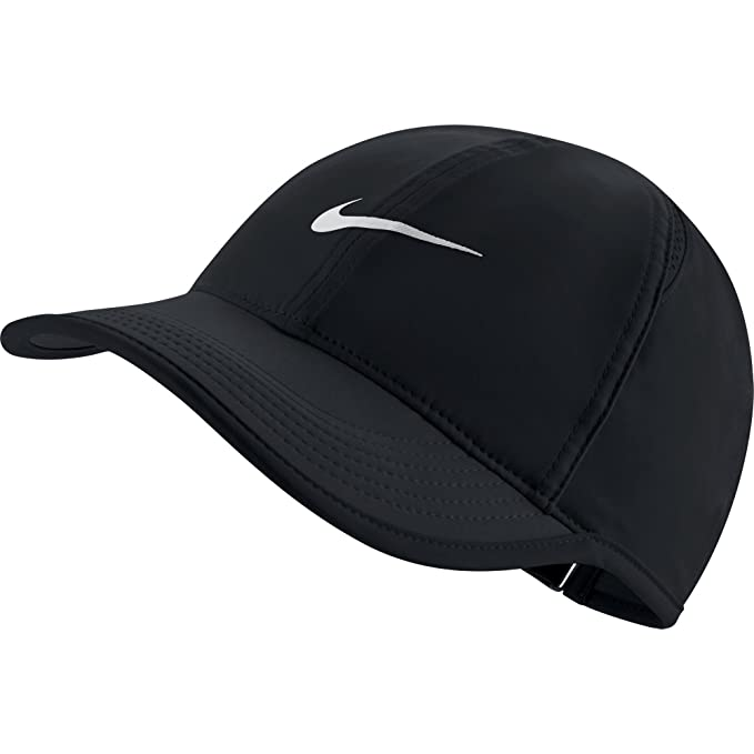 8b6d722f NIKE Women's AeroBill Featherlight Tennis Cap, Black/Black/White, One Size